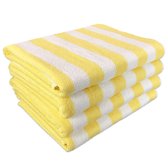 MNBCABANA-YL - Monarch BrandsYellow Stripe 15lb Cabana Towel, 30 x 70, 4 per Pack