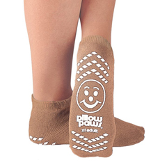 MON10971000 - PBESlipper Socks Pillow Paws Adult X-Large Tan Ankle High
