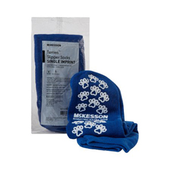MON10991200 - McKesson - Slipper Socks Bariatric, Extra Wide Royal Blue Above the Ankle, Single Imprint