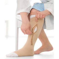 MON11430300 - JobstCompression Stocking and Liner UlcerCARE  Zippered Knee-high X-Large Beige