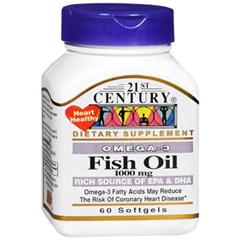 MON11652700 - 21st CenturyFish Oil Supplement 21st Century 1000 mg Strength Softgel 60 per Bottle