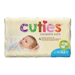 MON12363101 - First QualityCuties® Contoured Diapers, Size 1, 8-12 lbs., 42/BG