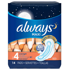 MON12371700 - Procter & GambleFeminine Pad Always Maxi Overnight Absorbency (1237106)
