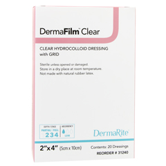 MON12402101 - DermaRite - Hydrocolloid Dressing DermaFilm 2 X 4 Inch Rectangle Sterile, 1/ EA