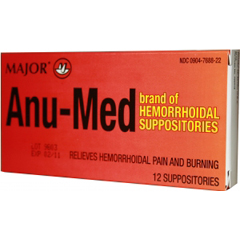 MON12582700 - Major PharmaceuticalsHemorrhoid Relief Anu-Med Suppository 12 per Box