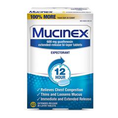 MON797347BX - Reckitt Benckiser - Expectorant Tablet Mucinex® 600 mg 40 per Pack, 40EA/BX