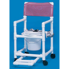 MON12973300 - Innovative ProductsShower Chair / Commode With Footrest, Seatbelt and Pail Standard Line Fixed Arm PVC Mesh 17 Inch