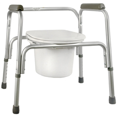 MON13293300 - McKessonCommode Chair SunMark® Fixed Arms Anodized Aluminum Seat Lid Back 16 to 22 Inch, 1EA/CS