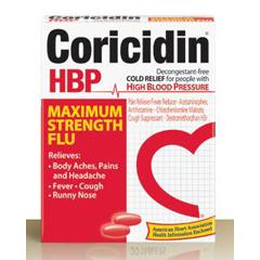 MON13332700 - Schering PloughCold Relief Coricidin HBP 500 mg / 15 mg / 2 mg Strength Tablet 20 per Bottle