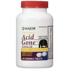 MON13462700 - Major PharmaceuticalsAntacid Acid Gone 160 mg / 105 mg Strength Tablet 100 per Bottle (1261346)