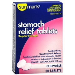 MON14242700 - McKessonAnti-Diarrheal sunmark 262 mg Strength Chewable Tablet 30 per Box