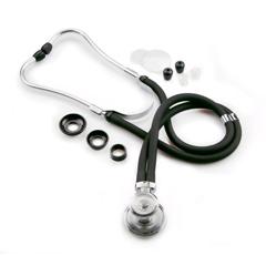 MON14612500 - McKessonSprague - Rappaport Binaural Stethoscope entrust® Black 2-Tube 16 Inch Dual Head