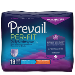 MON1083189CS - First Quality - Prevail® Per-Fit® Women Contoured Underwear, Moderate Absorbency, Large, (44 to 58), 18/BG, 4BG/CS