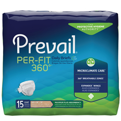 MON15043101 - First QualityPrevail® Per-Fit 360 Max, Plus Absorbency Winged Brief, XL, (58 to 70), 15/BG