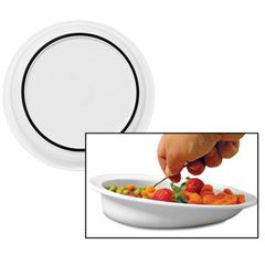 MON15404000 - Sammons PrestonHi-Lo Scoop Plate White Polypropylene 9 Diameter X 1/2 H Inch, 3/4 Inch Rim, 1-1/2 Inch Vertical Wall