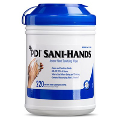 MON15981101 - Professional DisposablesAntimicrobial Alcohol Gel Hand Wipes Sani-Hands® - ALC 6 X 7.5 Inch Unscented Canister, 220EA/CN