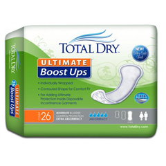 MON15993101 - Secure Personal Care ProductsIncontinence Booster Pad TotalDry™ Ultimate Boost Ups 16-1/2 Inch Length Moderate Absorbency One Size Fits Most Unisex Disposable, 26/BG