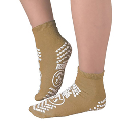 MON17001002 - PBESlipper Socks Pillow Paws Adult X-Large Tan Ankle High