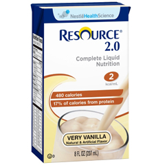 MON18012600 - Nestle Healthcare NutritionResource 2.0 Calorically Dense High Nitrogen Complete Formula 8 Oz Vanilla