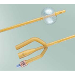 MON18221900 - Bard MedicalFoley Catheter 3-Way Standard Tip 30 cc Balloon 22 Fr. Red Rubber