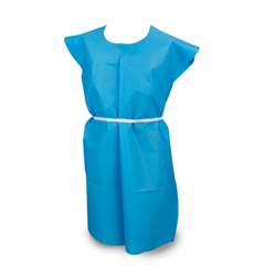 MON18561110 - McKessonExam Gown 2 X-Large Blue Without Cuff Adult Disposable