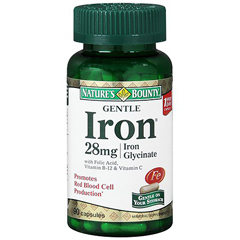 MON18652700 - US NutritionIron Supplement Natures Bounty 60 mg / 28 mg / 400 mcg Strength Capsule 90 per Bottle