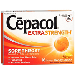 MON18902700 - Reckitt BenckiserSore Throat Relief Cepacol 15 mg / 2.6 mg Strength Lozenge 16 per Box