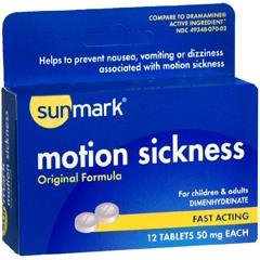 MON19432700 - McKessonNausea Relief sunmark 50 mg Strength Tablet 12 per Box