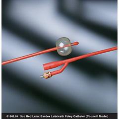 MON19611900 - Bard MedicalFoley Catheter Bardex Lubricath 2-Way Council Tip 5 cc Balloon 16 Fr. Red Rubber