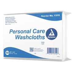 MON837502BG - Dynarex - Washcloth 10 x 13 White Disposable