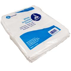 MON21461100 - DynarexIsolation Gown One Size Fits Most Nonwoven / Polyethylene Coated White Adult, 5EA/BG 10BG/CS