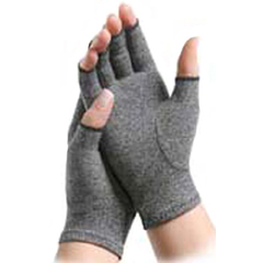 MON21721300 - Brown MedicalArthritis Glove IMAK Compression Open Finger Large Over-the-Wrist Hand Specific Pair Cotton