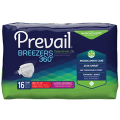 MON22113100 - First QualityPrevail® Breezers 360° Ultimate Absorbency Winged Brief, Size 1, (26 to 48), 16/BG, 6BG/CS