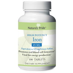MON22182700 - Nature's ProductsIron Supplement Natures Pride 65 mg Strength Tablet 100 per Bottle