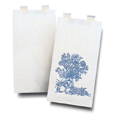 MON23101200 - McKessonBedside Bag 3-1/8 X 6-1/2 X 11-3/8 Inch White with Blue Floral Print Paper, 2000EA/CS