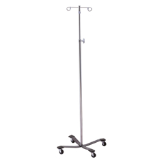 MON25203200 - McKessonIV Pole Floor Stand entrust® Performance 2-Hook 4-Leg, Rubber Wheel, Ball-Bearing Casters, 22 Inch Epoxy-Coated Steel Base