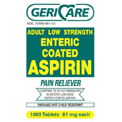 MON25572712 - Geri-CarePain Relief GeriCare 81 mg Strength Coated Tablet 1000 per Bottle