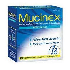 MON26972700 - Reckitt BenckiserCough Relief Mucinex 600 mg Strength Tablet 20 per Box