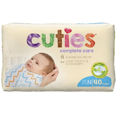 MON1102727CS - First Quality - Cuties Complete Care Diaper (CCC00), 40/BG, 4BG/CS