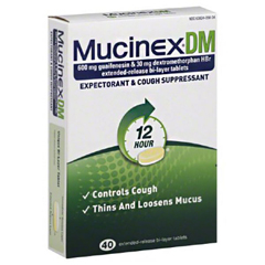 MON27482700 - Reckitt BenckiserCough Relief Mucinex® DM Tablet 600 mg/ 30 mg 40 per Bottle (1274802)