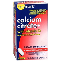 MON29872700 - McKessonsunmark® Calcium Citrate with Vitamin D Supplement Caplets, 60 per Bottle
