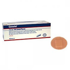 MON29505BX - Jobst - Coverlet® Adhesive Spot Bandage, 1.25 Diameter, Fabric, Oval, Tan, Sterile