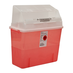 MON31322800 - MedtronicSharps-A-Gator™ Safety In Room Sharps Container Counterbalance Lid, Transparent Red 2 Gallon