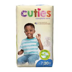 MON993723CS - First Quality - Cuties® Diapers, Over 41 lbs. Size 7, 80/CS