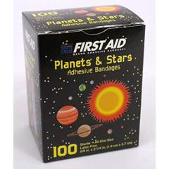 MON32762000 - Dukal - Adhesive Strip American® White Cross First Aid 0.625 x 2.25 Plastic Rectangle Kid Design (Planets / Stars) Sterile, 1200/CS