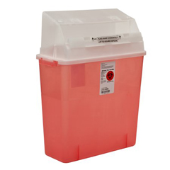 MON33112800 - MedtronicSharps-A-Gator™ Safety In Room Sharps Container Counterbalance Lid, Transparent Red 3 Gallon