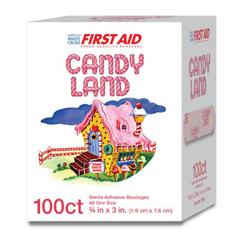 MON980584BX - Dukal - Adhesive Strip Stat Strip® 3/4 x 3 Plastic Rectangle Kid Design (Candy Land) Sterile, 100/BX