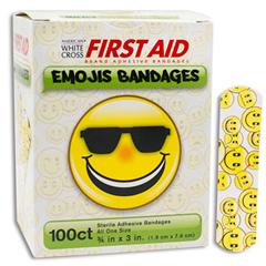 MON33242012 - Dukal - Adhesive Strip American® White Cross First Aid 3/4 x 3 Plastic Rectangle Kid Design (Emojis) Sterile, 100/BX