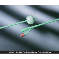 Foley Catheter Silastic 2-Way Round Tip 5 cc Balloon 16 Fr  Silicone Coated  Latex, 10 EA/CS
