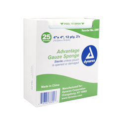 MON33692000 - DynarexSponge Gauze STR 12-ply 4X4, 2/PK, 25PK/BX